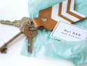 DIY painted leather keychain for Father's Day