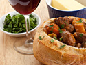 Fall and winter soups served in bread bowls