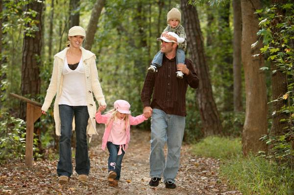 Family going for walk