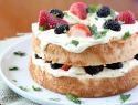 Fruit and lemon curd layered angel food cake