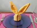 A Cute Easter Bunny Napkin Fold Is the Cherry on Top of Your Easter Table