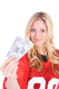 Woman with tickets