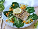 Light, fresh, gluten-free fish dinner: Grilled lemon-pepper mahimahi with sautéed bok choy