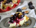 Make cheesecake with three cheeses and top it with roasted figs and cherries