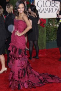 Zoe Saldana rocked the red carpet at the Golden Globes