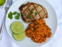 "Grilled cilantro-lime pork chops with Spanish cauliflower ""rice"""