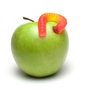 Gummy worm with apple