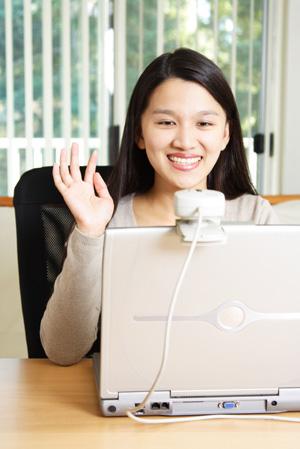 Happy woman on webcam