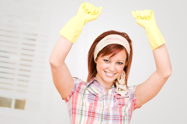 Happy Woman with Rubber Gloves