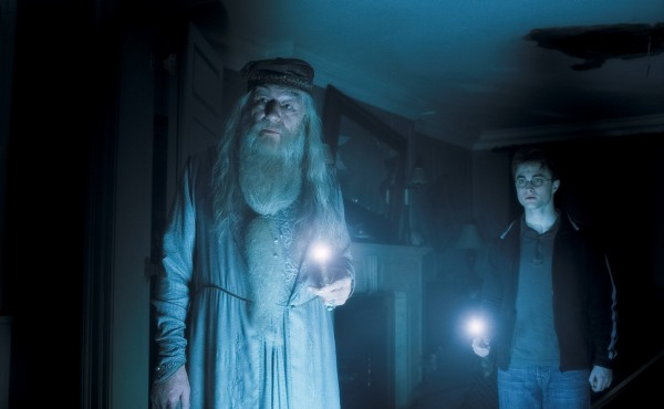Harry and Dumbledore work to fend of he who shall not be named