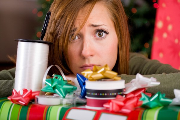 Stressed woman during holidays