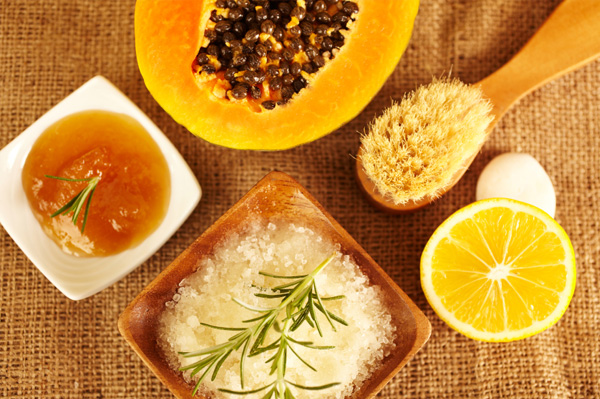Homemade fruit scrub beauty treatment ingredients