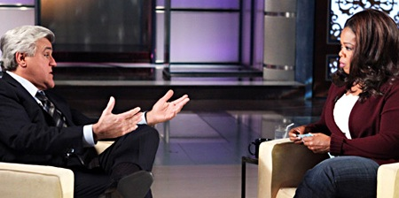 Jay Leno visits Oprah on January 29