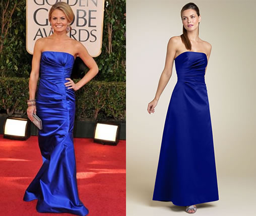 The base of Jennifer's gorgeous look is her blue strapless gown. The dress'