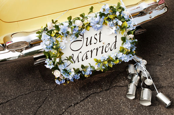 Just Married Sign on Limo