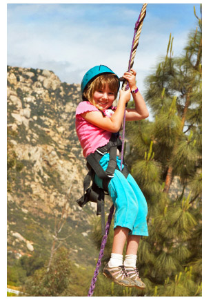 Kid on a zipline