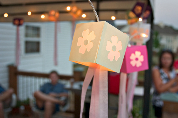 Lanterns at outdoor party