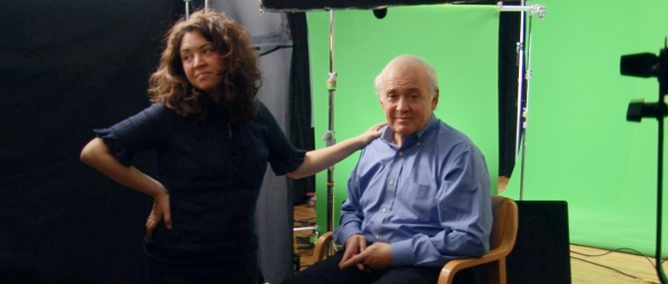Liz and her father Martin on the Shouting Fire set