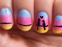 Cute love birds nail design is perfect for Valentine's Day