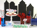 Man of Steel party props:  City silhouettes & comic bubbles