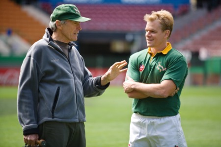 Matt Damon listens to the master, Invictus director Clint Eastwood