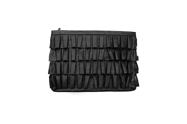 Me Char large ruffle leather clutch