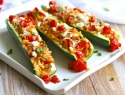 Meatless Monday: Stuffed zucchini, with herbed orzo, almonds and fresh tomato sauce