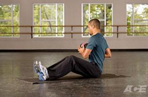 Medicine Ball V-Sit Start Position