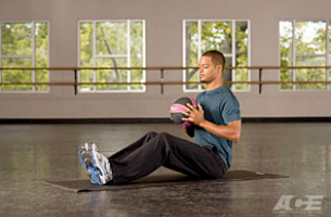 Medicine Ball V-Sit Start Position