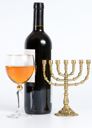 Menorah and Wine