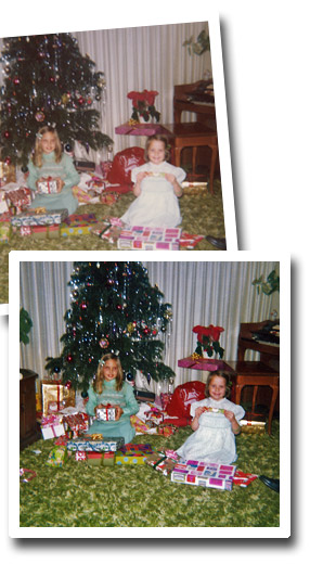 Christmas in the 70s - two girls and a Christmas tree