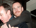 Michael Fassbender gets carried out of party