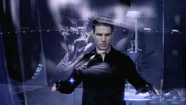 Tom Cruise does his thing in Minority Report courtesy of Michael Lantieri