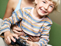 Mom and son playing video game