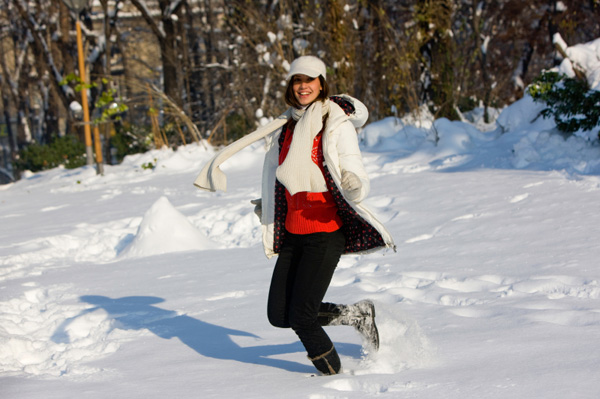 Mom having fun in snow
