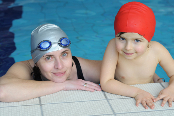Mom and son at swimming class