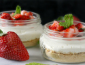Light, airy, no-bake strawberry mint cheesecake