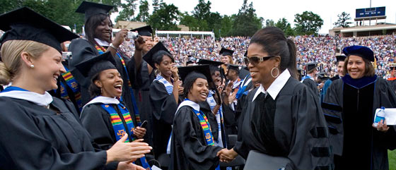 Oprah meets the graduates of Duke University