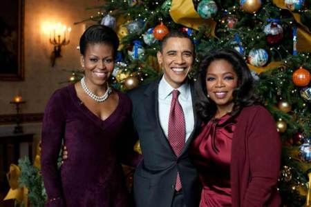Michelle, Barack Obama and Oprah Winfrey at the White House