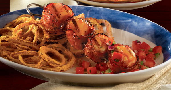 Peach bourbon BBQ scallops