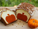 Peekaboo pumpkin pound cake with a surprise in every slice
