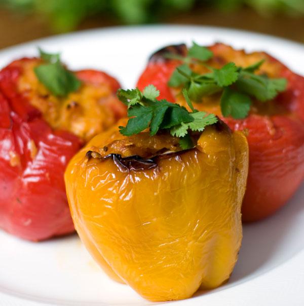 Peppers, pasta salad & salmon