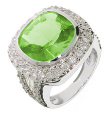 Peridot CZ cocktail ring