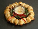 Pigs in a blanket holiday wreath