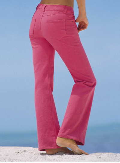 Flare-leg pink jeans