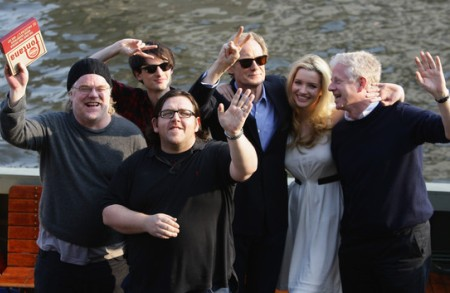 The cast of Pirate Radio with their director Richard Curtis (far right)