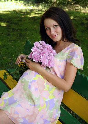Pregnant Woman Wearing Spring Dress