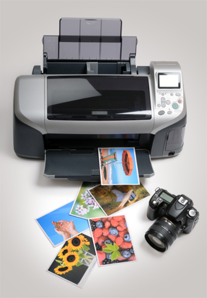 Printer with photographs and camera