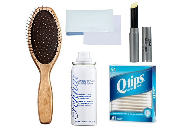 mini hairbrush, Q-tips, hairspray, blotting sheets