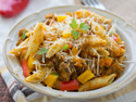 Easy sausage pasta with pumpkin sauce for a weeknight meal done right